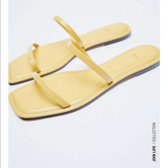 Zara Yellow Square Toe Flat Sandals